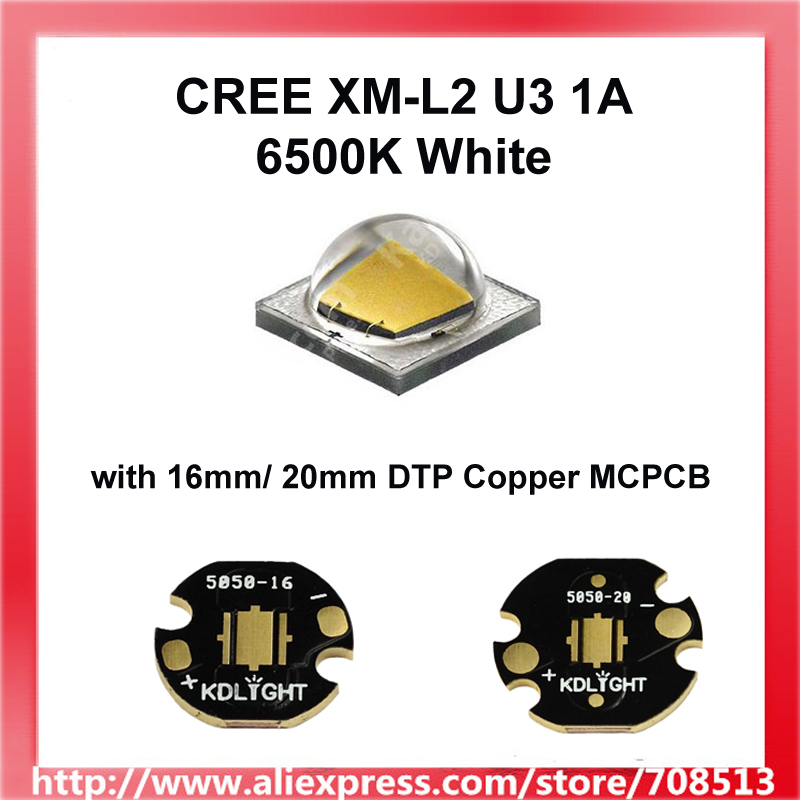 <font><b>Cree</b></font> XM-<font><b>L2</b></font> <font><b>U3</b></font> 1A 6500K <font><b>LED</b></font> Emitter Could With Bare <font><b>LED</b></font> OR 16mm / 20mm Copper Board- 1 piece image