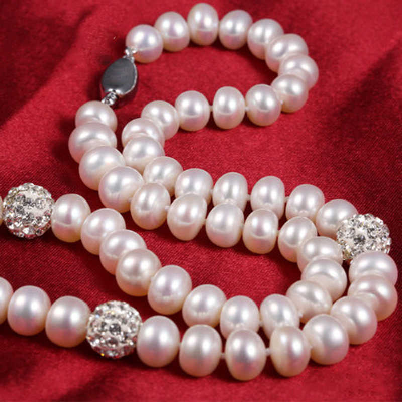 RUNZHUQIYUAN 2017 100% natural freshwater pearl choker necklace 925 sterling Silver Jewelry 45cm length For Women girls Gifts