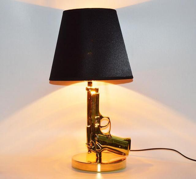 Luxury Gun Pistol Shade LED Table Lamp E27 Reading Desk Lights Black Gold  Desk Lamp Cool PVC Handgun Bedside Resin Table Light
