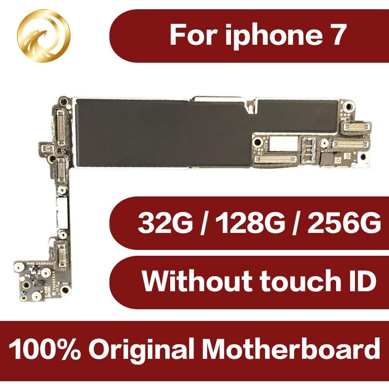 Débloqué Original pour iphone 7 Carte Mère sans Tactile ID, pour iphone 7 mobile téléphone carte mère avec Puces, 32 gb/128 gb/256 gb