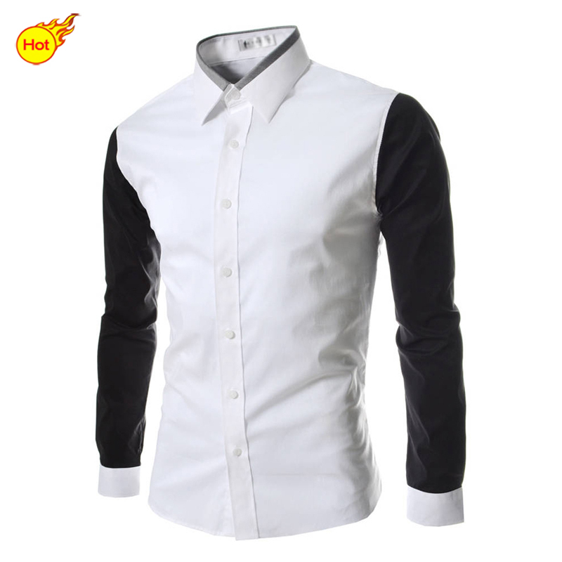 220606527c64e 2015 Mens camisas de vestido elegante hombre de manga larga camisa Solid  Casual camisa a rayas para hombre ropa de verano estilo más el tamaño M  XXXXL en de ...