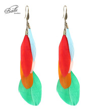 Badu Colorful Feather Earrings Long Elegant Women Mix Color Bohemian Fashion Jewelry Christmas Party Accessories
