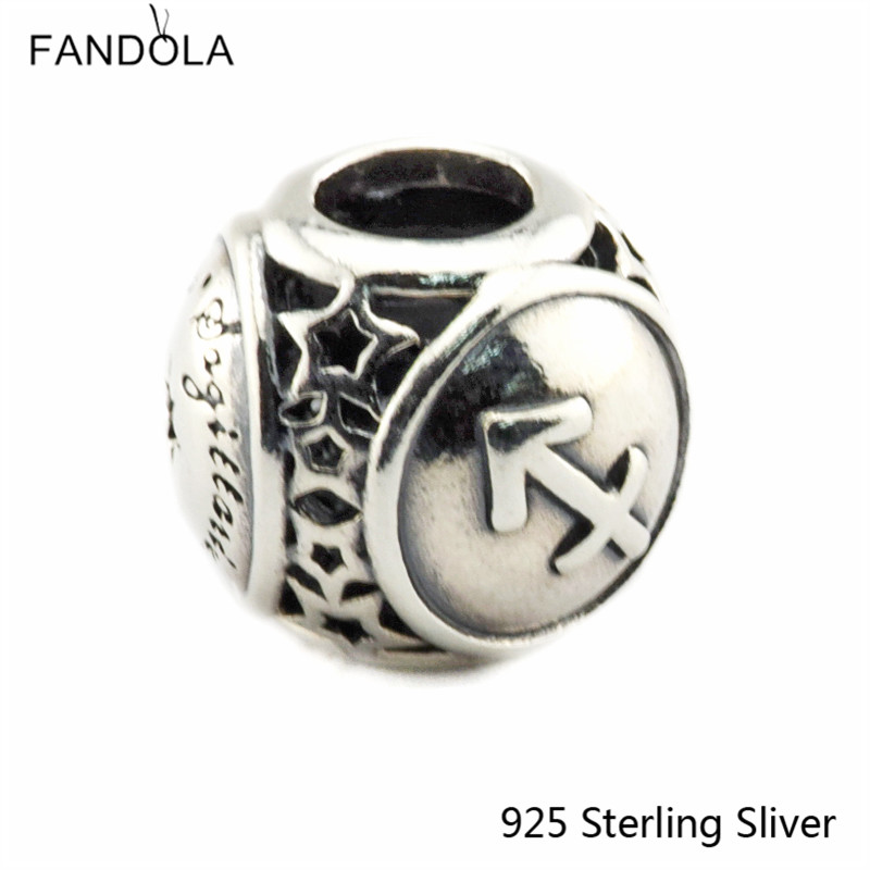 Sagittarius Star Sign 925 Sterling Silver Charm Beads Fits For Pandora Bracelet Charms for DIY Fine Jewelry