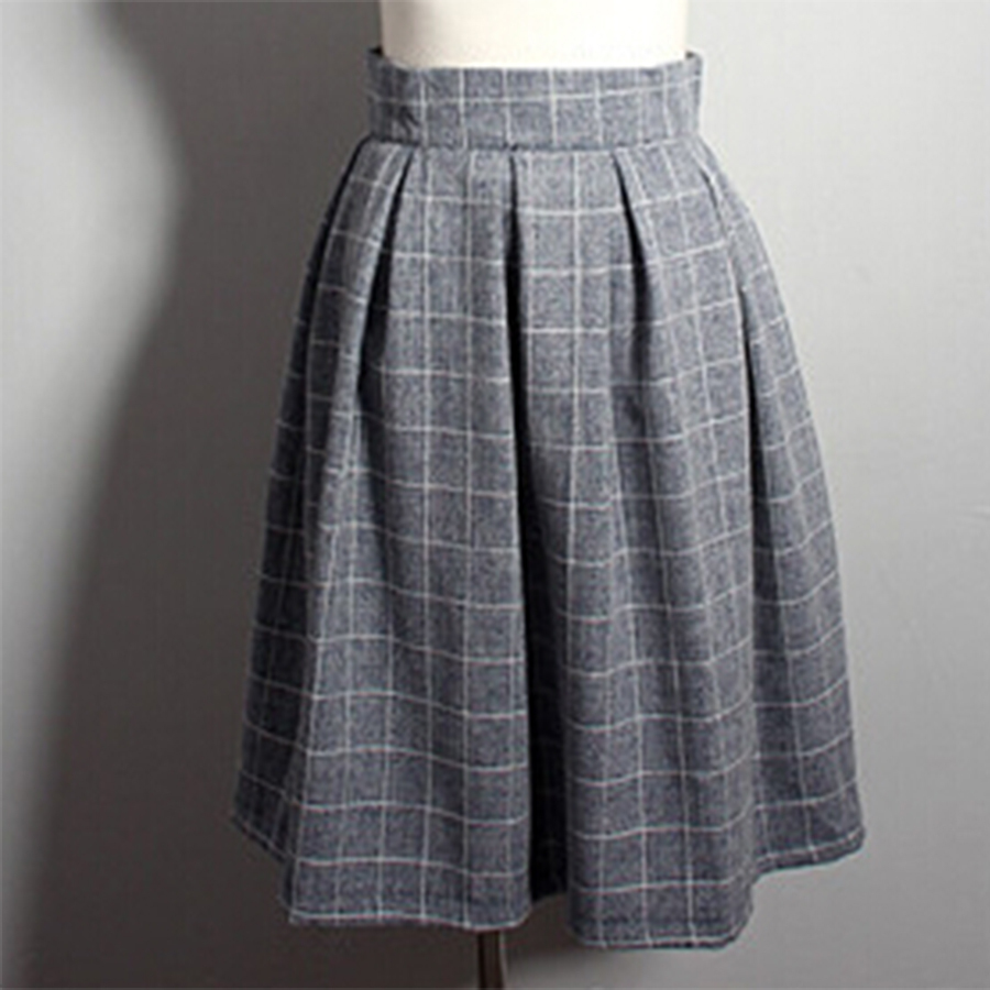 vintage black plaid pleated skirt fashion ol
