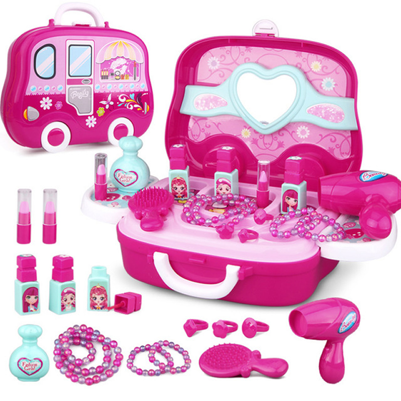 343d1870a66 US $15.24 50% OFF|Kids Makeup Toys Girls Games Baby Cosmetics Pretend Play  Set Hairdressing Make Up Beauty Toy For Girl Developing Game-in Beauty & ...