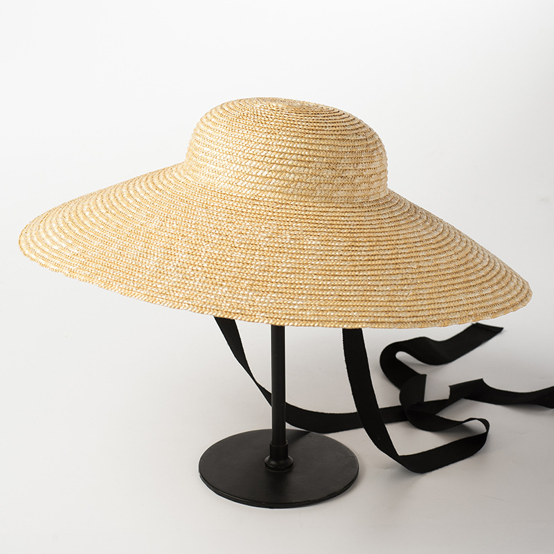 8fa7790366 [La MaxPa] Wide Brim Sun Hat for Women 2018 Summer Beach Straw Hats for  Ladies Vintage Bucket Hats with Ribbon Ties-in Sun Hats from Apparel  Accessories on ...