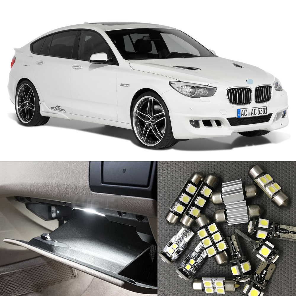 18pcs White Canbus Car LED Light Bulbs Interior Kit For 2010-2014 BMW 5 Series F07 No Error Map Dome Courtesy License Plate Lamp