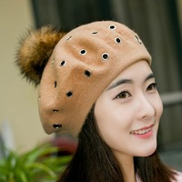 Women Pure Wool Beret Hat Autumn And Winter Raccoon Fur Pompom Knit Hat Girl Fashion And