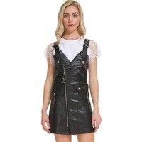 Winter Black Short Dress Deep V neck 2019 Solid Mini Sexy&club Dresses PU Leather Dress Women Zipper Dress Female QH232