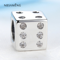 NBSAMENG Authentic 925 Sterling Silver Bead Charm Vintage Crystal Cube Dice Beads Fit Women Bracelets Bangles