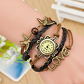 Fashion Genuine Leather LOVE DIY Knit Band Sea Mew Quartz Retro Vintage Bracelet Wristwatches Watch Reloj for Women Female Girls