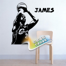 Free mail NBA basketball star wall stick a little emperor lebron James dormitory background stickers
