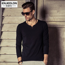 Enjeolon brand 2017 top new Mens cotton t shirts Black Clothing,Man's Long Sleeve button fly T-Shirts Slim Tops Tee RST1631-1