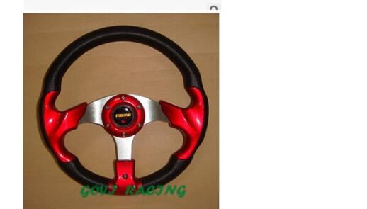 Steering wheel 320mm/13 pvc leather universal car steering wheel racing carbon spoiler c ...