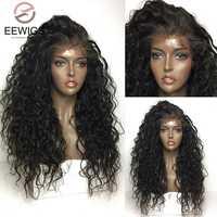 EEWIGS negro Natural Sintético peluca con malla frontal sin costuras 180% de densidad Afro rizado pelucas resistente al calor para las mujeres puede poner cola de caballo