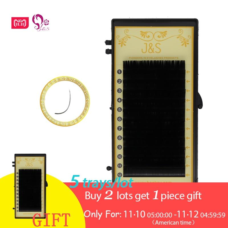 J & S LU L Ellipse flat groove eyelashes ,1:1 individual eyelashes. 5/trays lot wholesale price