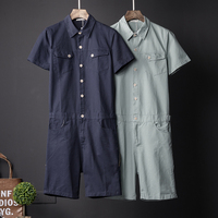 Europe and the United States street personality jumpsuit male summer couple models short sleeved jumpsuits Japanese clothing