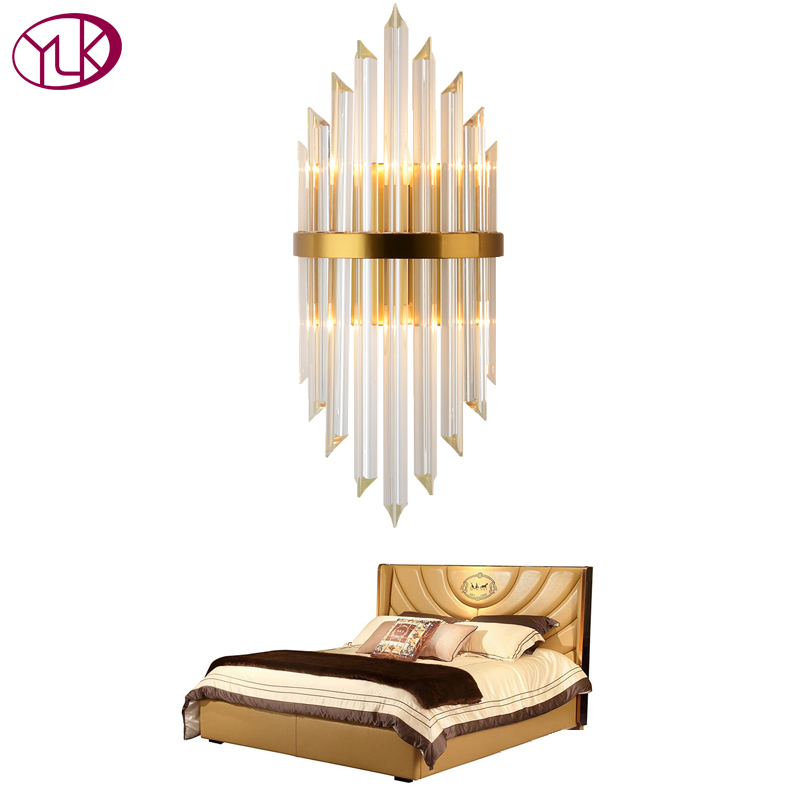 Youlaike Luxury Gold Wall Lamp Modern Crystal Wall Sconce Lighting Fixture Living Room Bedside Stainless Steel
