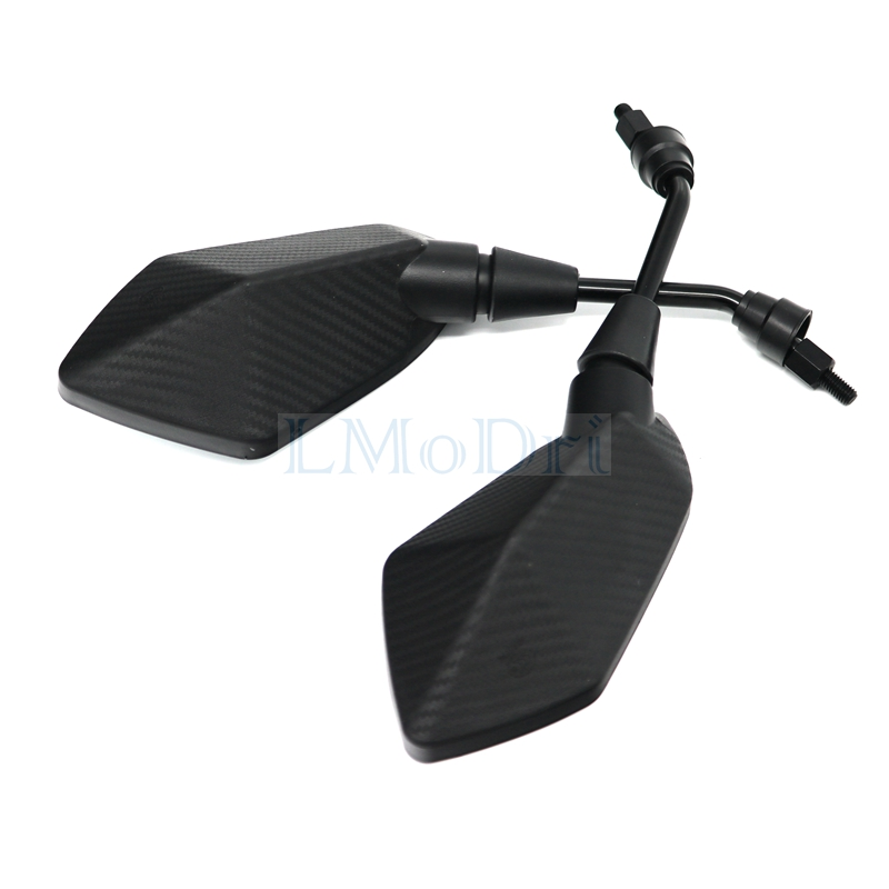 LMoDri 2Pcs/Pair Motorcycle Mirror Scooter E-Bike Rearview Mirrors Electrombile Back Side Convex Mirror 8mm 10mm Carbon Fiber 4