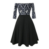 Sisjuly Vintage Dress Women Black Female Party Dresses Retro Patchwork Backless Embroidery Half Sleeve Slash Neck