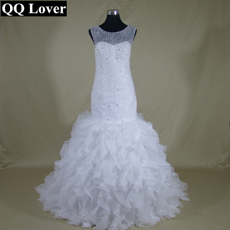 QQ Lover 2017 Mermaid Lace font b Wedding b font Dresses Zipper With Buttons Vestido De