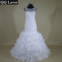 QQ Lover 2017 Mermaid Lace Wedding Dresses Zipper With Buttons Vestido De Noiva Ruffles Bridal Dress Gown