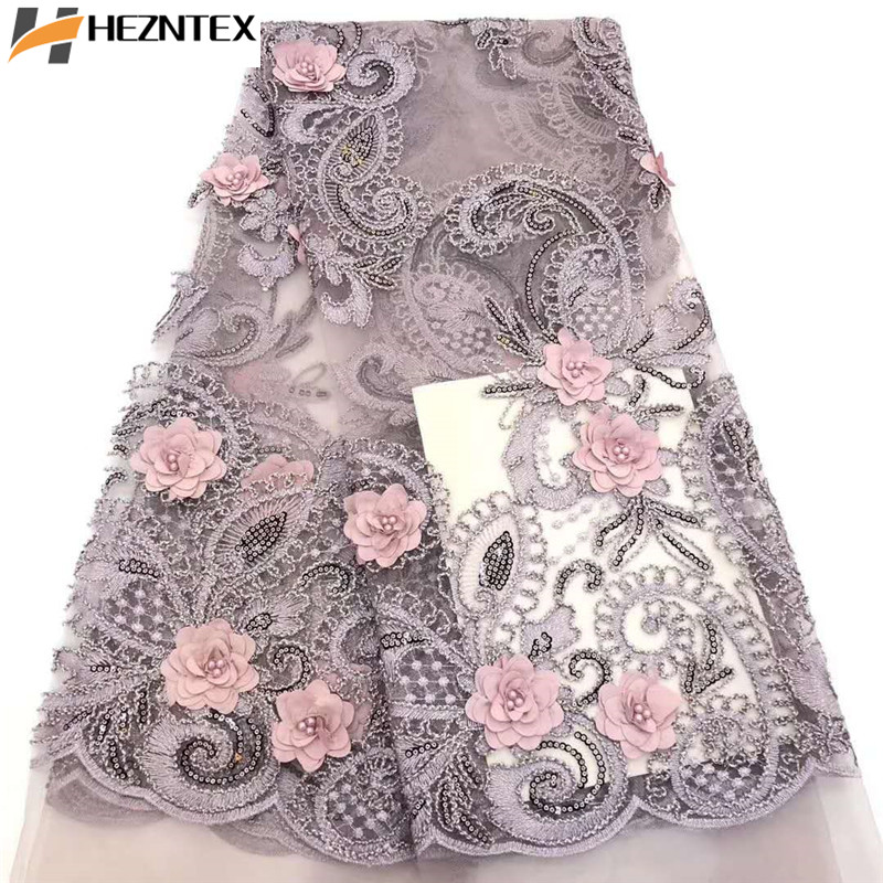 African Lace Fabric 3D Applique French Tulle Lace Fabric High Quality Nigerian Laces Fabrics With Beads