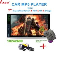 """Новый 7 """"2 DIN HD Bluetooth Автомобильный mp5 игрок стерео аудио RDS AM, FM Радио тюнер MirrorLink рулевое колесо дистанционное управление с Камера"""