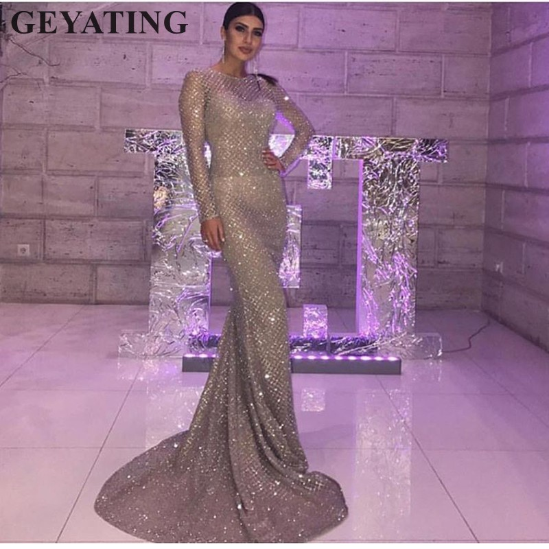 Glitter Silver Gold Sequins   Evening     Dress   Long Sleeves Bodycon Elegant Women Formal   Dress   2019 Saudi Arabia Dubai Prom   Dresses