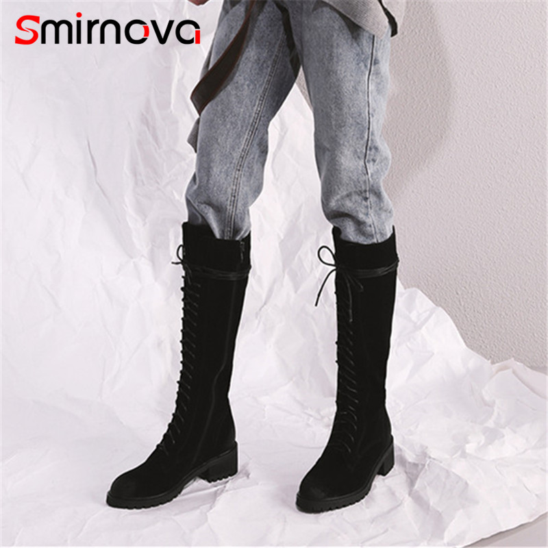 Smirnova high quality 2018 casual med heels cow suede leather boots winter lace up long boots classic knee high boots black