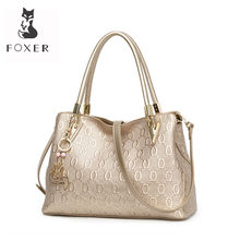 Foxer Wanita Sapi Split Kulit Tas Bahu Tas Selempang Tas Fashion Wanita Totes Tas All-Match Top-Handle Bag Dompet 962061F(China)