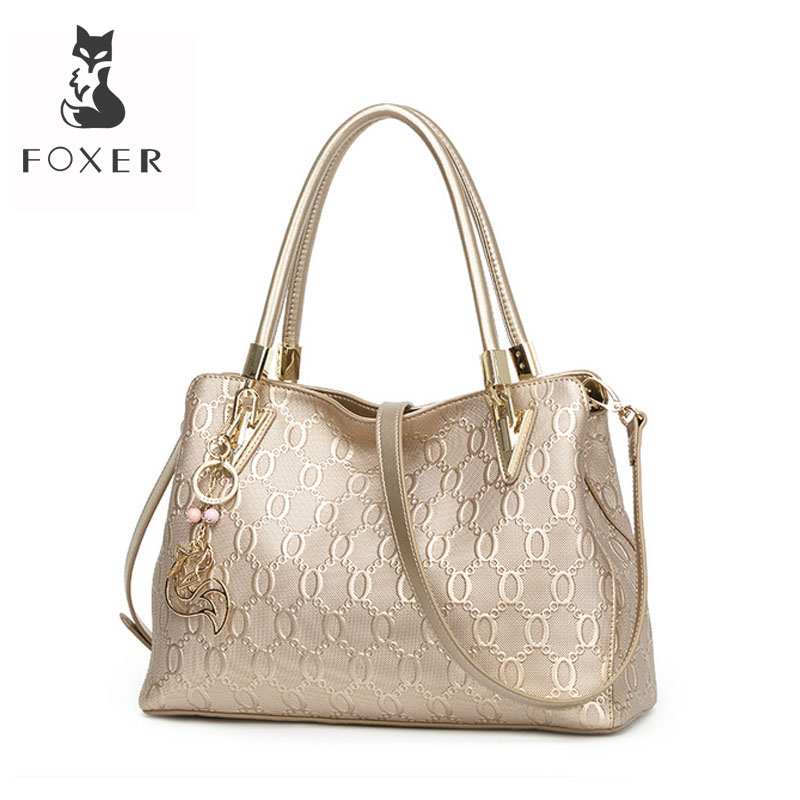 FOXER Women's Split Cow Leather Shoulder Bag Crossbody Bags Female Fashion Totes Handbag All match Top handle Bag Purse 962061F
