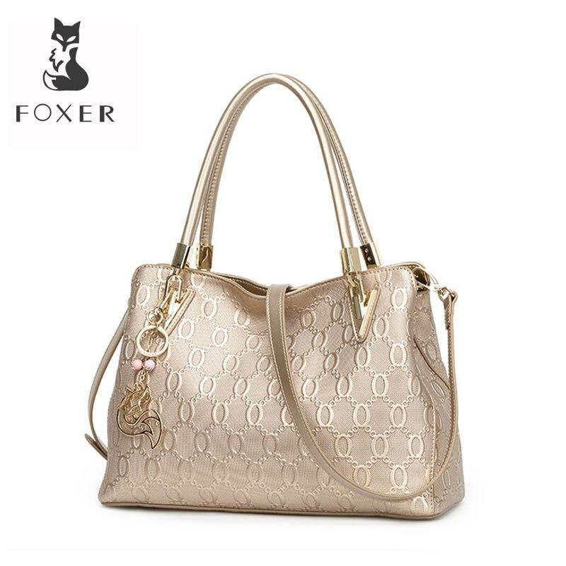 FOXER 女性のスプリット牛革ショルダーバッグクロスボディバッグ女性のファッショントートハンドバッグすべてマッチトップハンドルバッグ財布 962061F  グループ上の スーツケース & バッグ からの ショッピングバッグ の中 1