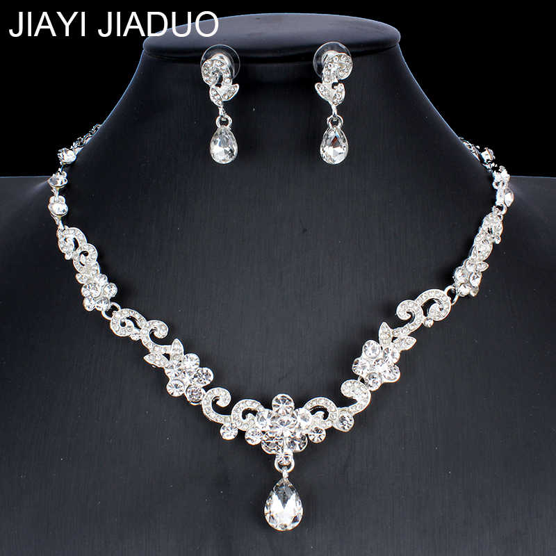 jiayijiaduo Silver Color Jewelry Set for Women's Wedding Gown Jewelry necklace sets Crystal Necklace Earrings  NE+EA