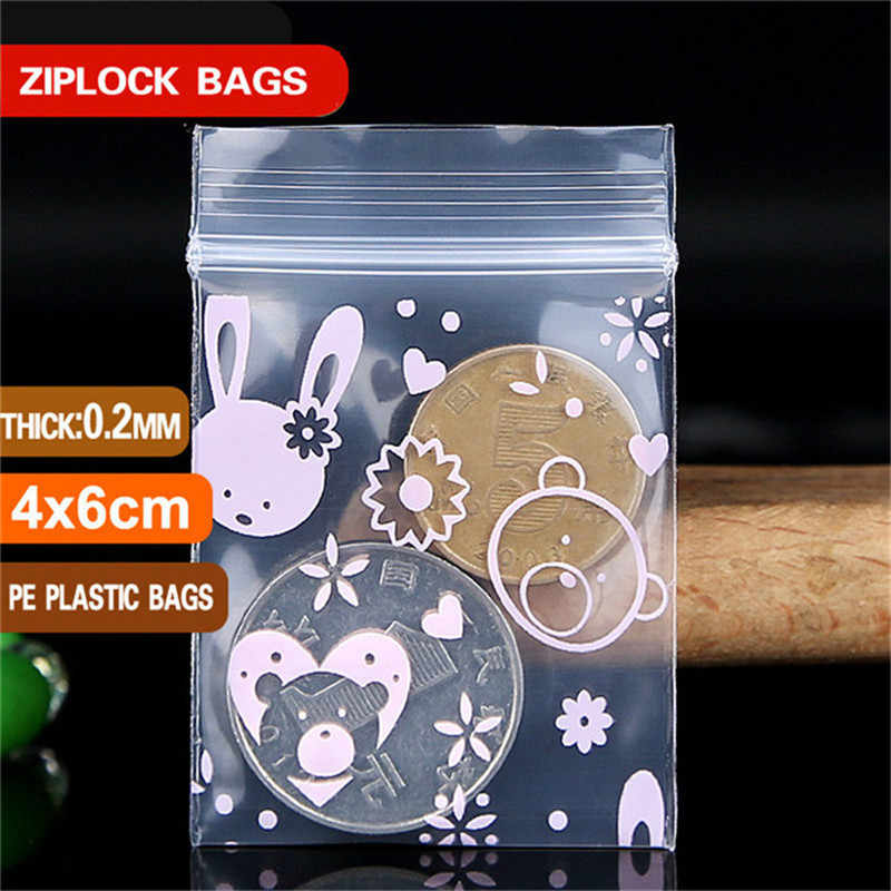 Thick 0.2mm Small Colors Plastic Zipper Bags Ziplock Bag Ziplock Pill Pack Pouches Mini Zip lock Bags Plastic Packaging Bag