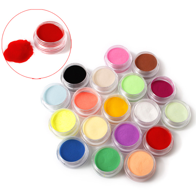 Freeshipping Nail Acrylic Powder  Liquid 18 Colors Diy Colourful Dust Set For 3d Art Mold Coloured carving powder