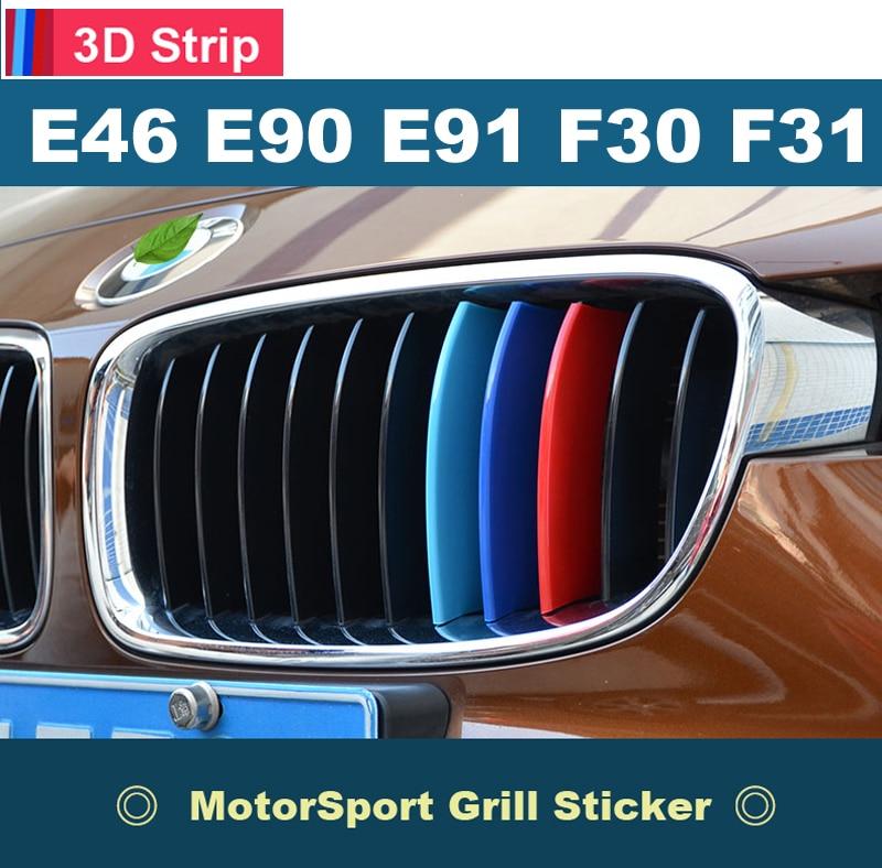 Us 6 54 19 Off Car Front Grille Stripes M Sport Strips Grill Cover Performance Clip Stickers For Bmw 3 Series E46 E90 E91 E92 E93 F30 F31 F35 In Car