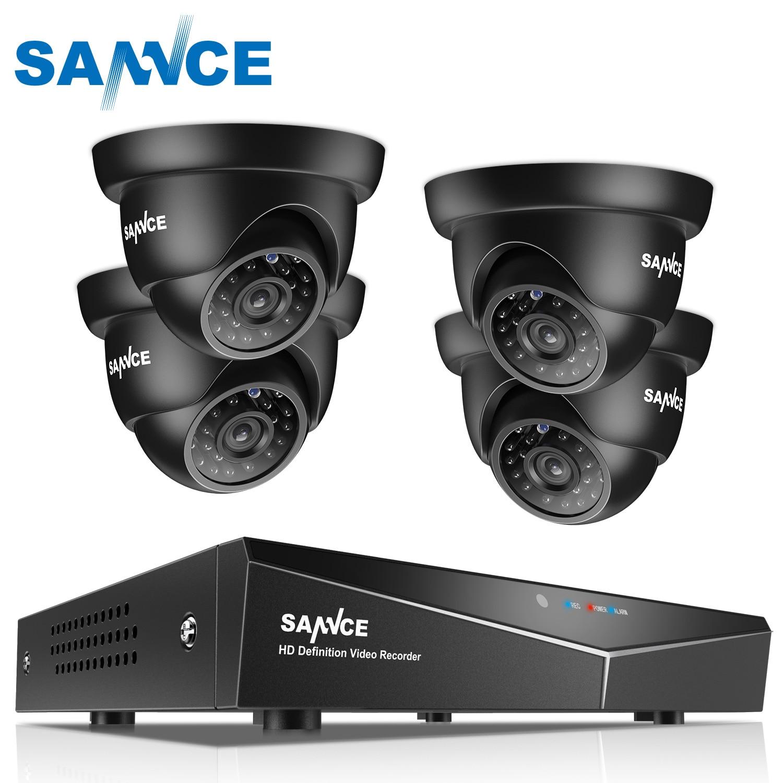 SANNCE 4CH 1080N DVR Security Camera CCTV System 4pcs 720P CCTV Cameras P2P Indoor Outdoor Video
