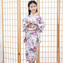 White Floral Baby Girl Cosplay Dress Costumes Japanese Traditional Young Girl Kimono Children Novelty Print Dance Dress S M L