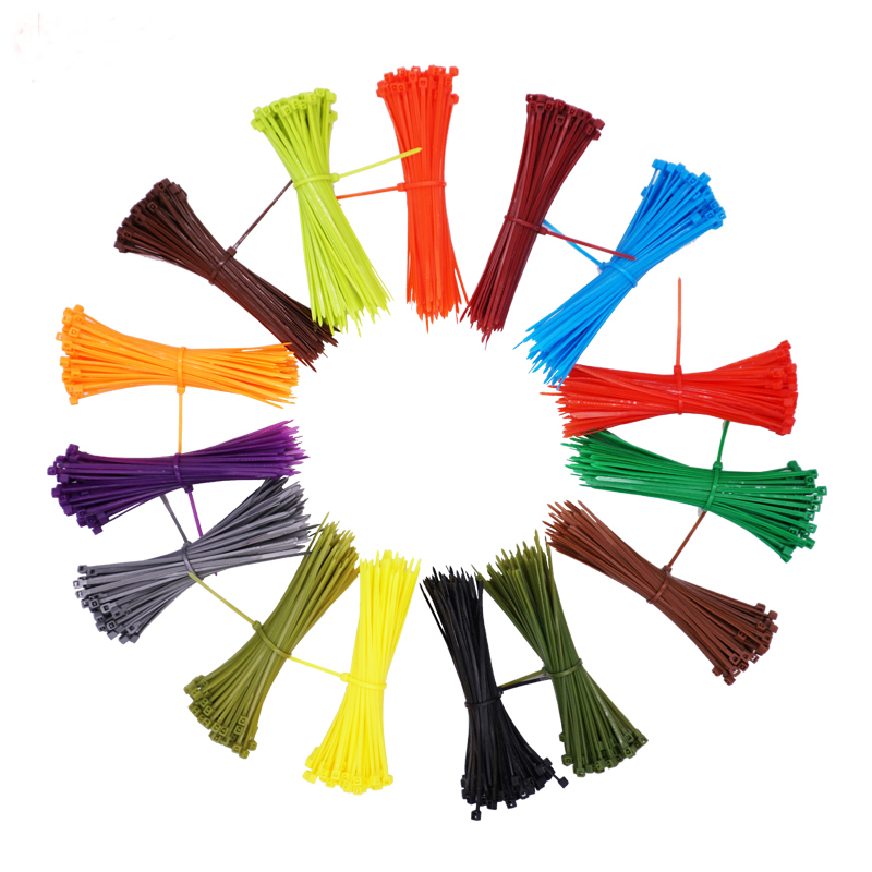100pcs/set 3*100mm Self-locking Nylon Cable Ties 12 Color Plastic Cable Zip Tie Wire Binding Wrap Straps Fastener Hook Loop