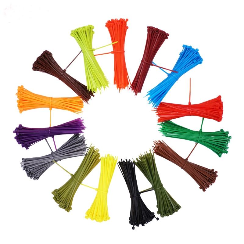 100pcs/set 3*100mm Self-locking Nylon Cable Ties 12 Color Plastic Cable Zip Tie Wire Binding Wrap Straps Fastener Hook Loop