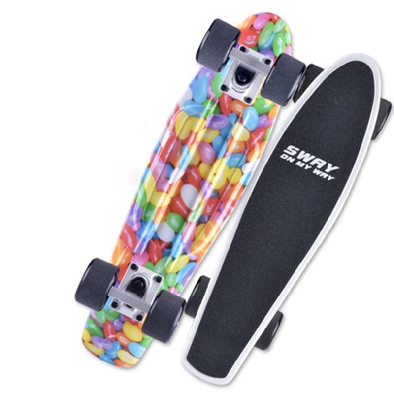 все цены на PP Small Fish Plate Four Wheels Cruiser Skateboard Brush Street Skate Board Outdoor Sports Adult Youth Kid Step Transport IE04