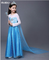 2018 New Top Fashion Girls Snow For Costume Elsa Princess Dress Up With Train Halloween Christmas