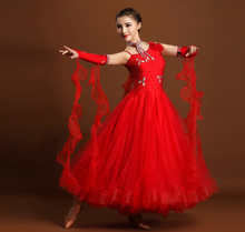 Red Yellow pink  adult Ballroom  Fox trot  tango Modern tango Waltz competition Dance Dress rhinestone