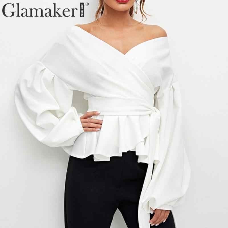 Glamaker Sexy rüschen off schulter bluse shirt Frauen sommer weiß lace up gürtel blusen Weibliche elegante laterne hülse hemd tops