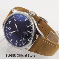 Classic 44MM Black Sterile Dial Brown Leather Strap Mechanical 17 Jewels 6498 Hand Winding Movement Men's Pilot Watch PA33 H