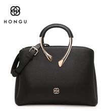 Hongu Light Luxury Genuine Leather Women Ring Tote handbags Famous Brand Lady Shoulder Bags pure Simple Shell Bag designer louis