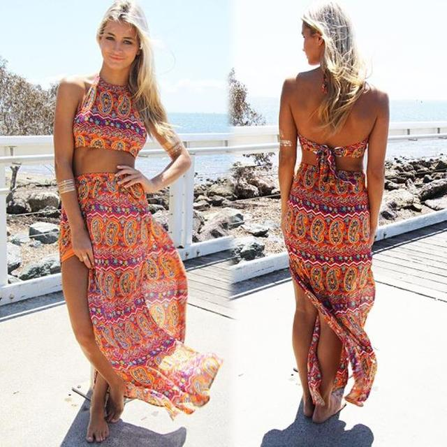 a41a2dbf2 Summer style sexy cute 2 piece set women bohemian print crop top and high  slit maxi