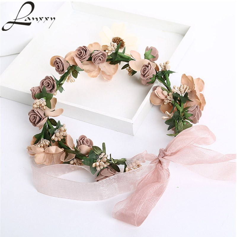 Lanxxy Hot Sale New 2016 Fashion Wedding Hair Accessories Wreath Tiaras Flower Headband Women Crown Bridal Hairbands metting joura vintage bohemian green mixed color flower satin cross ethnic fabric elastic turban headband hair accessories