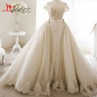New Arrival 2017 Wedding Bridal Dresses Puffy Amazing Arabic Dubai Luxury Ivory Lace Bridal Gown LIYATT